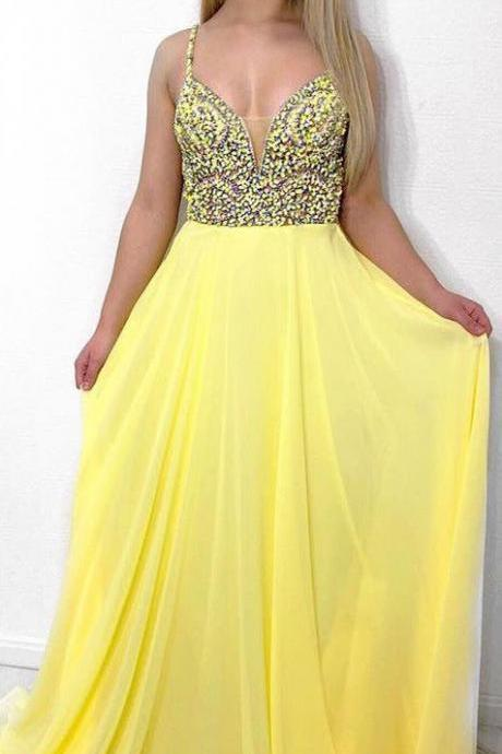 Spaghetti Straps Dark Yellow Long Prom Dresses with Beaded