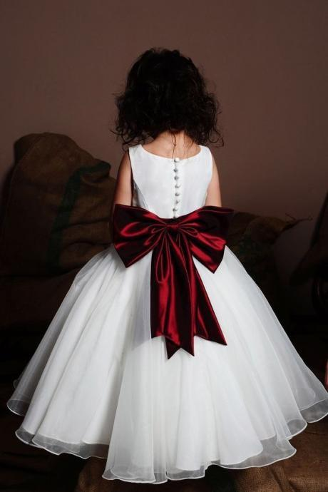 Cute White Flower Girl Dresses Waist with Sash for Wedding Party
