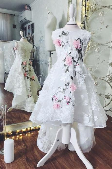 Hi Low Flower Girl Dress with 3D Flowers Embroidery Pageant Dresses for Kids