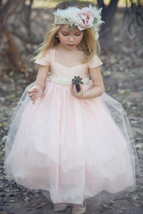Cap Sleeves Ball Gown Flower Girl Dresses for Wedding Party
