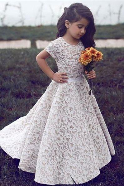 Lace Sweep Train Flower Girl Dresses for Wedding