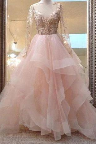 Long Sleeves V Neck Tulle Wedding Dresses with Appliques Bridal Dress