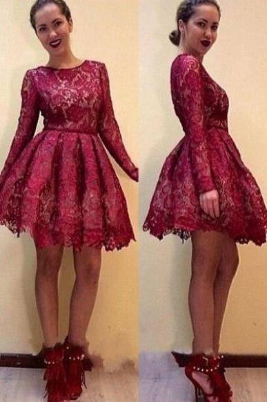Long Sleeves Lace Short Homecoming Dresses Burgundy Prom Dresses short