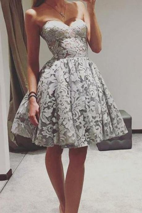 Sweetheart Short Homecoming Dresses Lace Prom Dresses