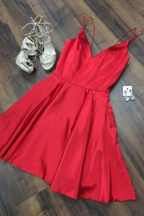 Sexy Red Spaghetti Straps Short Homecoming Dresses Party Dresses