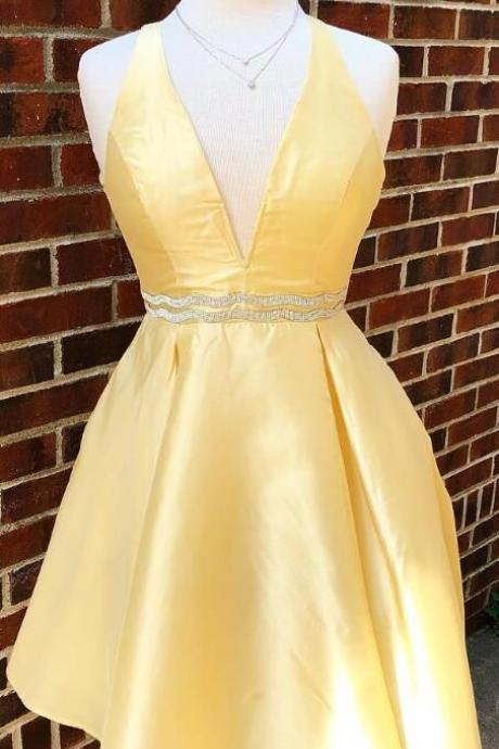 Yellow Short V Neck Prom Dress Homecoming Dress Waist with Beaded