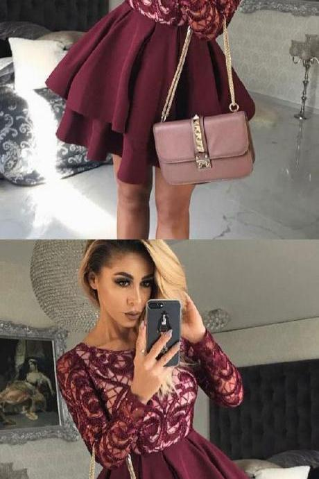 Dark Burgundy Homecoming Dress Short Prom Dress with Long Sleeves