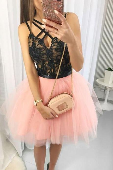 Pear Pink Tulle Short Homecoming Dresses Prom Dresses