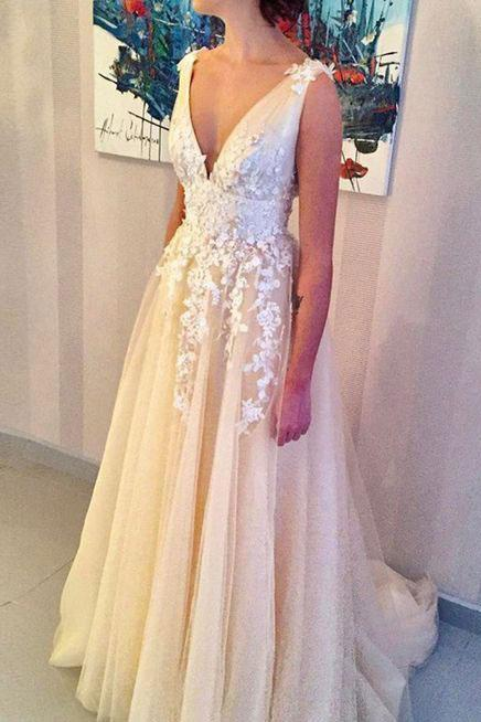 V Neck Wedding Dresses with Appliques Flowers Bridal Gown