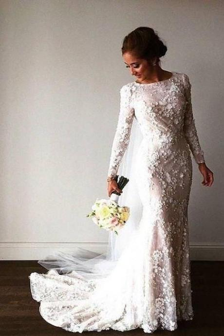 Court Train Sheath Long Sleeves Wedding Dresses Bridal Gowns with Flowers