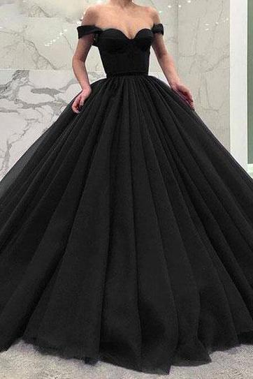 Off the Shoulder Ball Gown Black/Burgundy/Navy Blue Prom Dresses Pageant Gown