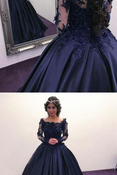 Long Sleeves Navy Blue Court Train Prom Dresses with Appliques for Women Pageant Gown