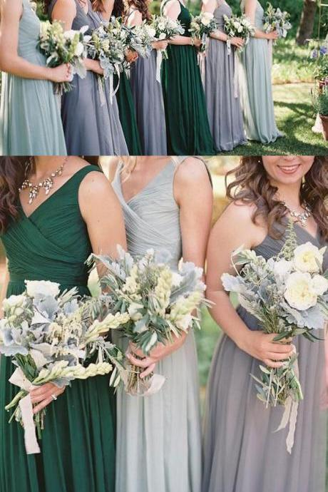 V Neck Long Bridesmaid Dresses for Wedding Party Dark Green/Gray/Ligh Blue Dresses for Bridesmaid