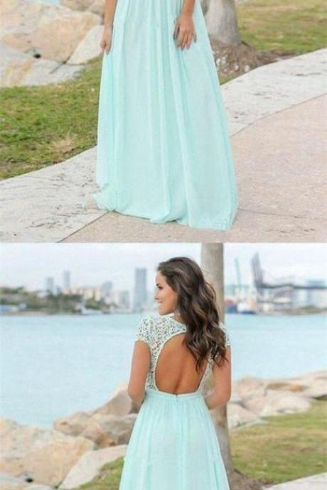 V Neck Cap Sleeves Long Chiffon Bridesmaid Dresses Prom Dresses