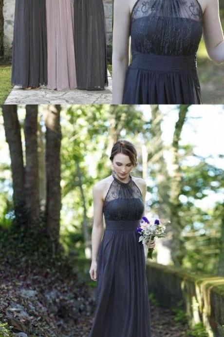 Gray Halter Chiffon Long Prom Dresses with Lace for Wedding Party