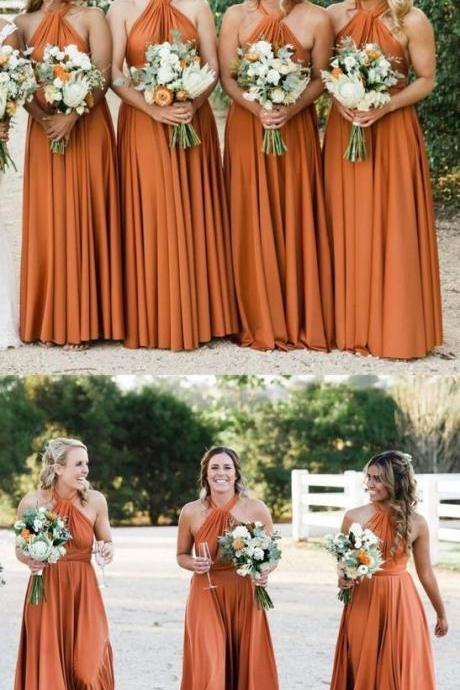 Halter Orange Long Bridesmaid Dresses Under 100 for Wedding Party