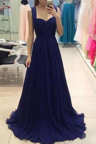 Straps Royal Blue Long Prom Dresses for Women