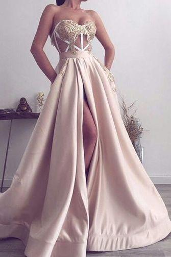 Sweetheart Split Side Prom Dresses with Appliques