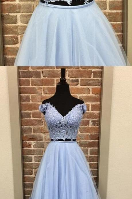 Two Piece Light Blue Long Prom Dresses with 3D Flowers