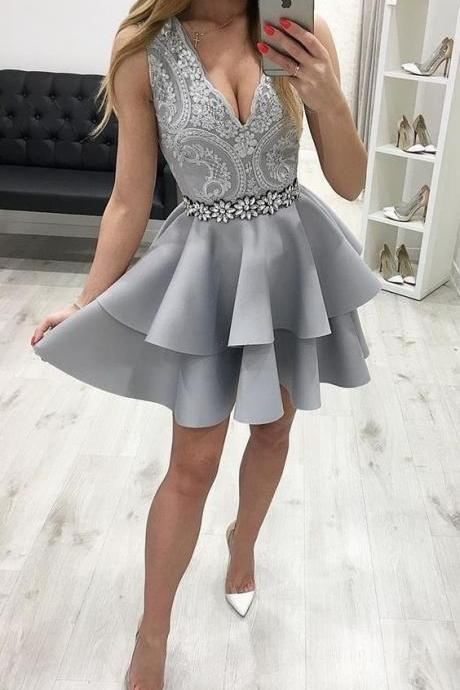V Neck Short Prom Dresses Homecoming Dresses Waist with Beaded