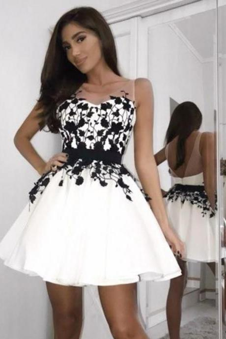Sheer Neck Short Homecoming Dresses Prom Dresses with Appliques