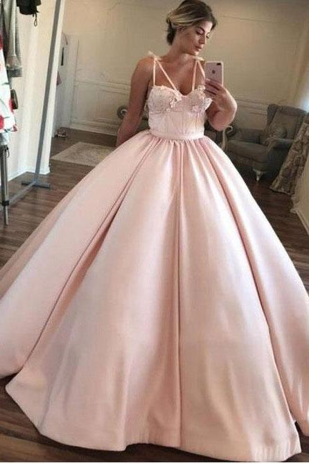 Pink Ball Gown Spaghetti Straps Prom Dresses Pageant Dresses Evening Gown Birthday Dresses
