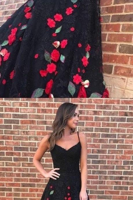 Spaghetti Straps Long Prom Dresses with Appliques Flowers
