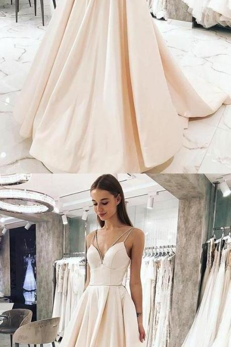 Elegant Spaghetti Straps Long Prom Dresses Under 100