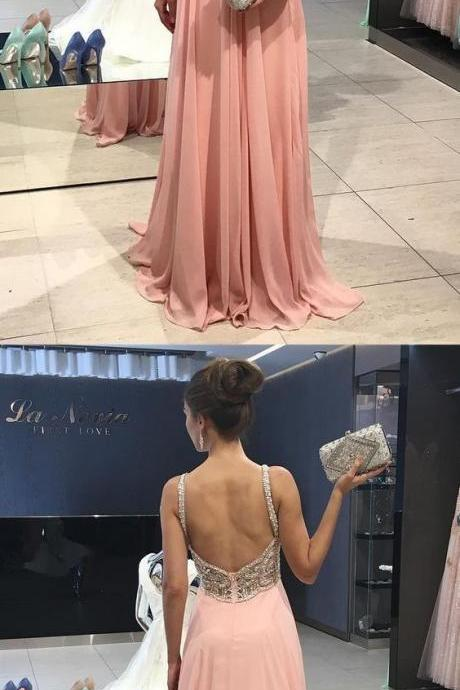 Spaghetti Straps Chiffon Long Prom Dresses with Beaded