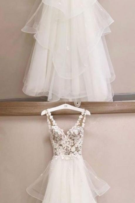 V Neck Long Wedding Dresses Bridal Gown with Appliques Lace