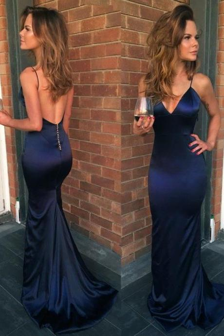 Spaghetti Straps Sheath Long Prom Dresses Evening Dresses for Women