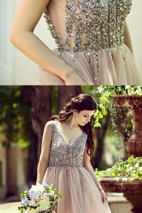 V Neck Tulle Prom Dresses Evening Dress with Beaded Sequiend for Prom
