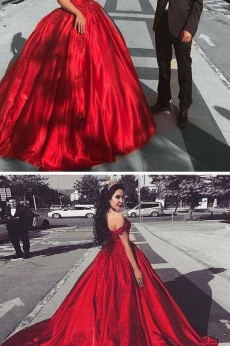Off the Shoulder Burgundy Prom Dresses with Appliques Evening Gowns for Party