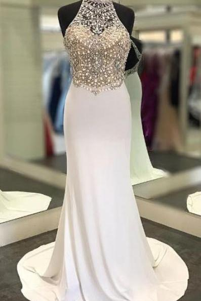 High Neck Sheath Long Prom Dresses with Beaded