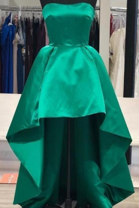 Strapless Green Hi Low Prom Dresses for Women