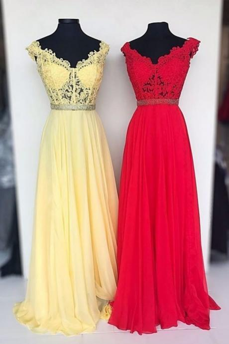 V Neck Yellow/Red Long Prom Dresses with Appliques Lace