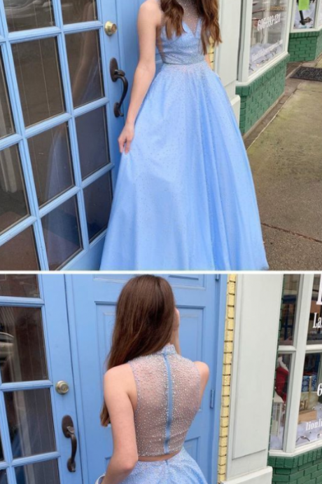 High Neck Blue Long Prom Dresses with Beaded Evening Gowns