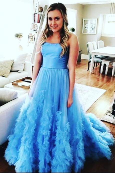 Strapless Long Blue/Red Prom Dresses Evening Gowns for Women