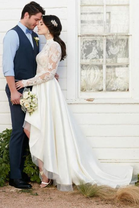 High Neck Long Sleeves Hi Low Wedding Dresses Bridal Gowns