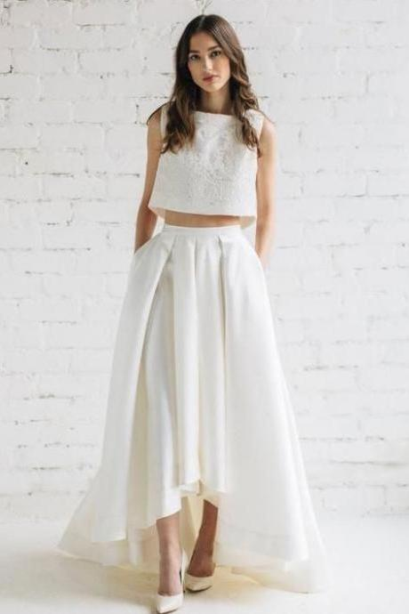 Two Piece Wedding Dresses Bridal Gowns with Pockets