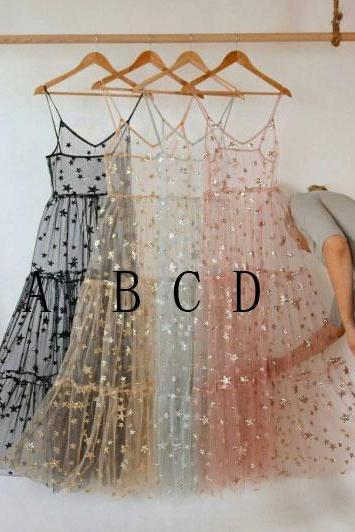 Spaghetti Straps Bling Bling Stars Tulle Dresses for Women