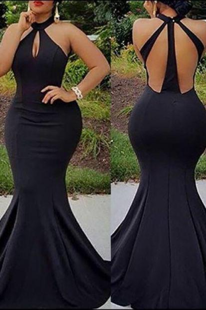 Mermaid Black Long Prom Dresses Evening Dresses