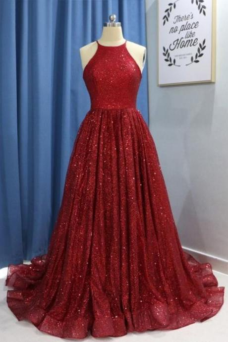 Halter Long Burgundy Prom Dresses Evening Gowns