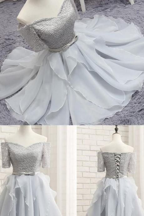 Half Sleeves Gray Short Homecoming Dresses Party gowns