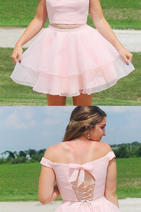 Off the Shoulder Two Piece Short Homecoming Dresses Under 100