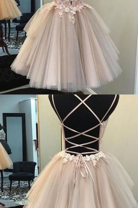 Vintage Tulle Double Straps Homecoming Dresses with Lace