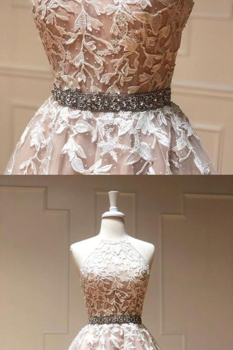 Halter Tulle Short Nude Homecoming Dresses with Appliques Waist with Beaded