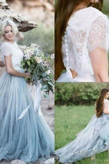Short Sleeves Light Blue Wedding Dresses Bridal Gown