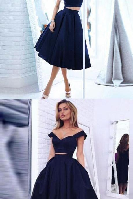 Sexy Navy Blue Two Piece Prom Dresses,Homecoming Dresses, Evening Dresses for women