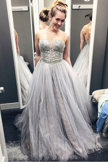 Elegant Silver Tulle Long Prom Dress with Beaded for women